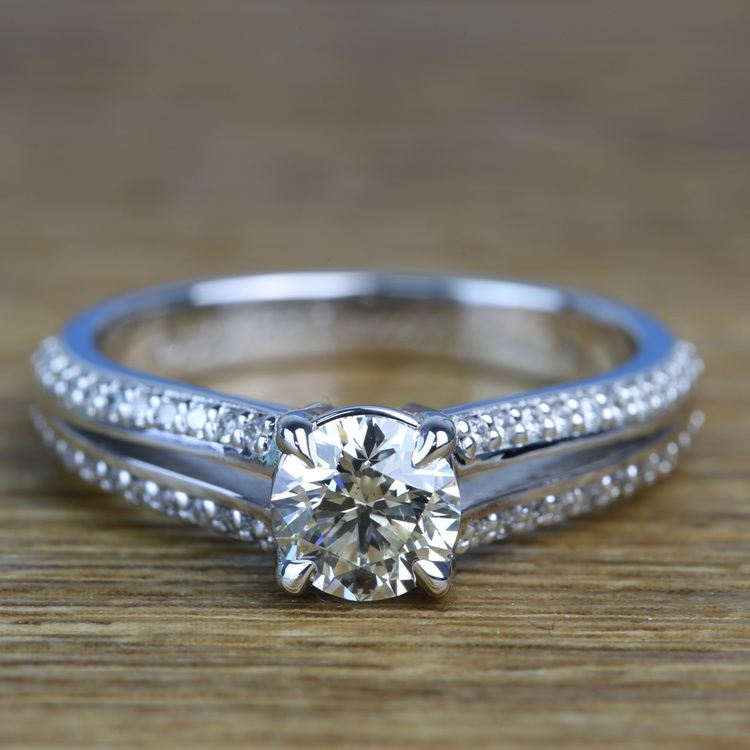 Custom Split Shank 0.90 Carat Round Diamond Engagement Ring