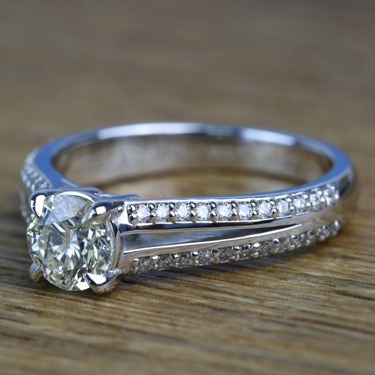 Custom Split Shank 0.90 Carat Round Diamond Engagement Ring  angle 2