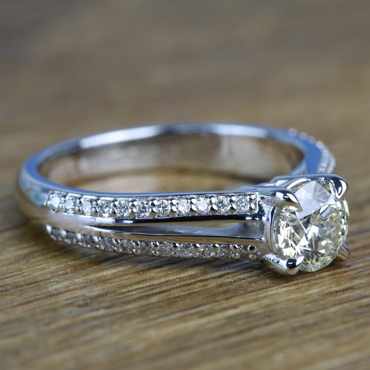 Custom Split Shank 0.90 Carat Round Diamond Engagement Ring  angle 3