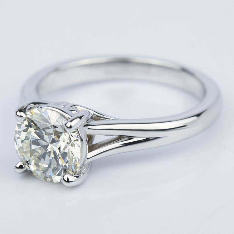 Custom Split Shank 2.00 Carat Round Solitaire Engagement Ring angle 2