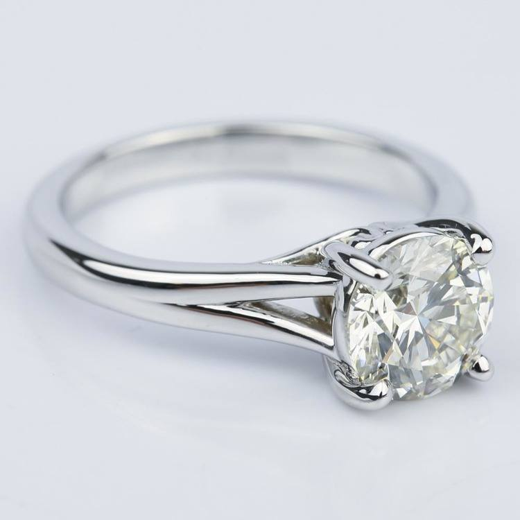 Custom Split Shank 2.00 Carat Round Solitaire Engagement Ring angle 3
