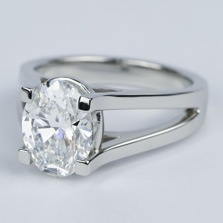 3 Carat Oval Diamond With Split Shank Engagement Ring