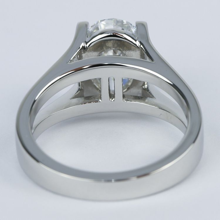 3 Carat Oval Diamond with Split Shank Engagement Ring angle 4