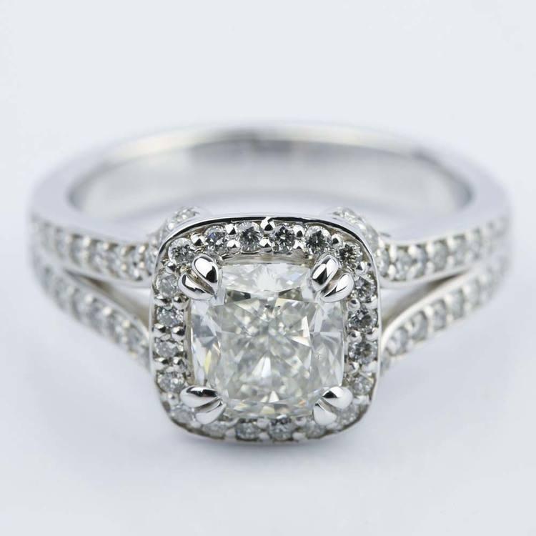Custom Split Shank Cushion Halo Diamond Engagement Ring