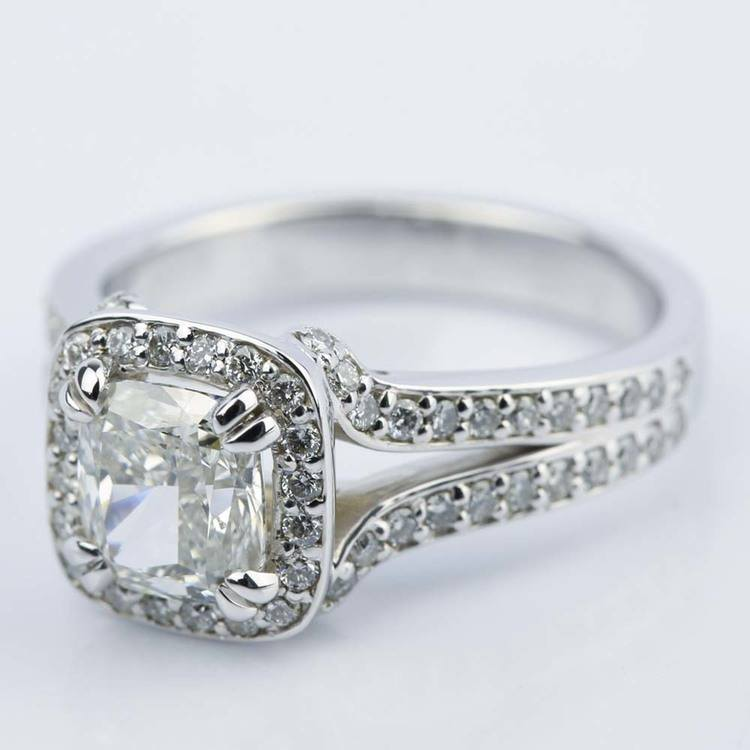 Custom Split Shank Cushion Halo Diamond Engagement Ring angle 2
