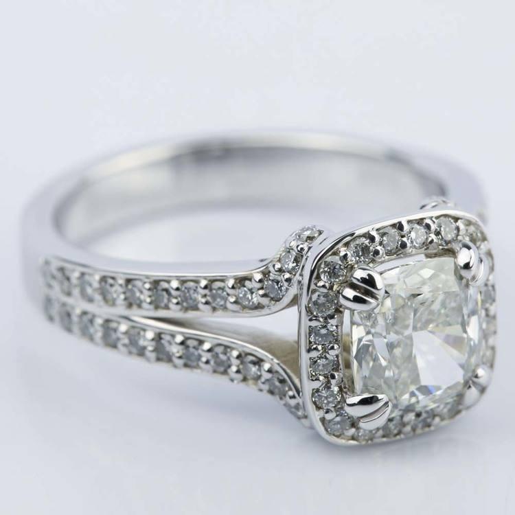 Custom Split Shank Cushion Halo Diamond Engagement Ring angle 3