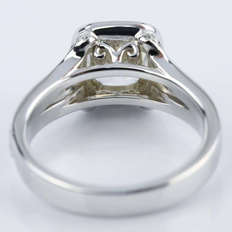 Custom Split Shank Cushion Halo Diamond Engagement Ring angle 4