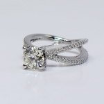 Custom Round Diamond Split Shank Pave Engagement Ring (1.5 carat) - small angle 3
