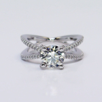 Custom Round Diamond Split Shank Pave Engagement Ring (1.5 carat) - small