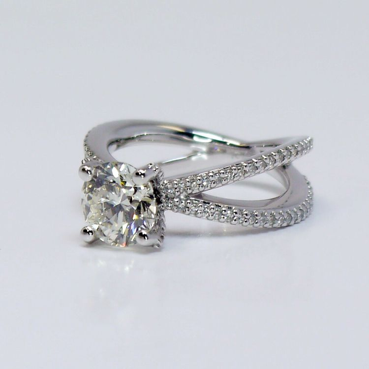 Custom Round Diamond Split Shank Pave Engagement Ring (1.5 carat) angle 3