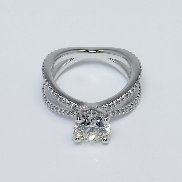 Custom Round Diamond Split Shank Pave Engagement Ring (1.5 carat) angle 2