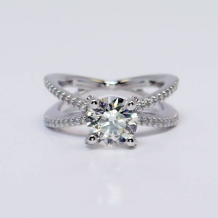 Custom Round Diamond Split Shank Pave Engagement Ring (1.5 carat)