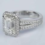Custom Split Shank Emerald Halo Diamond Engagement Ring - small angle 2
