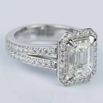 Custom Split Shank Emerald Halo Diamond Engagement Ring - small angle 3