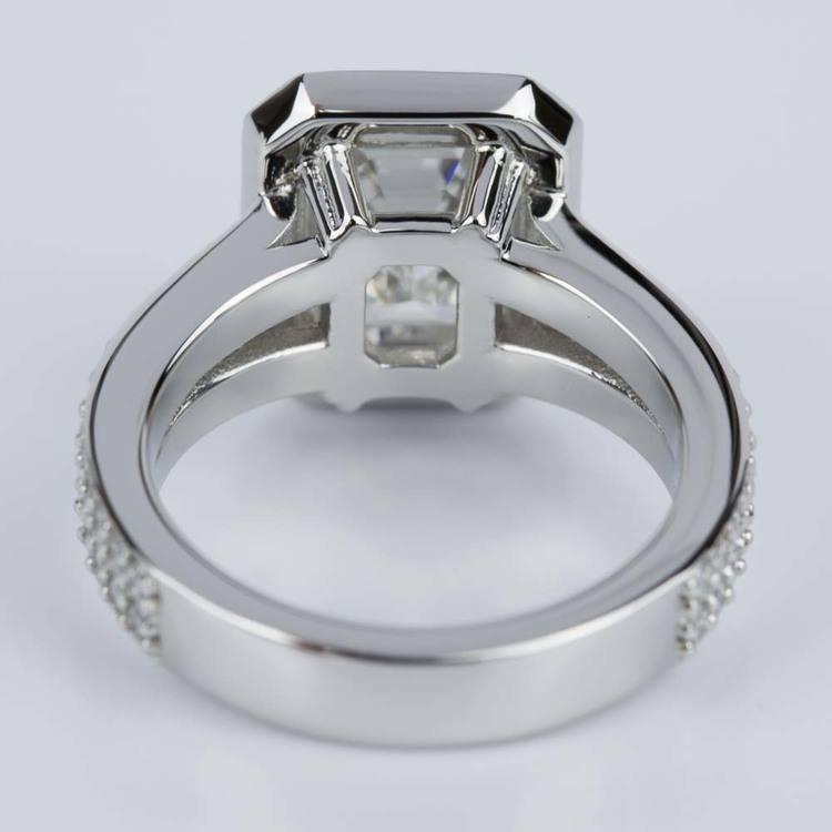 Custom Split Shank Emerald Halo Diamond Engagement Ring angle 4