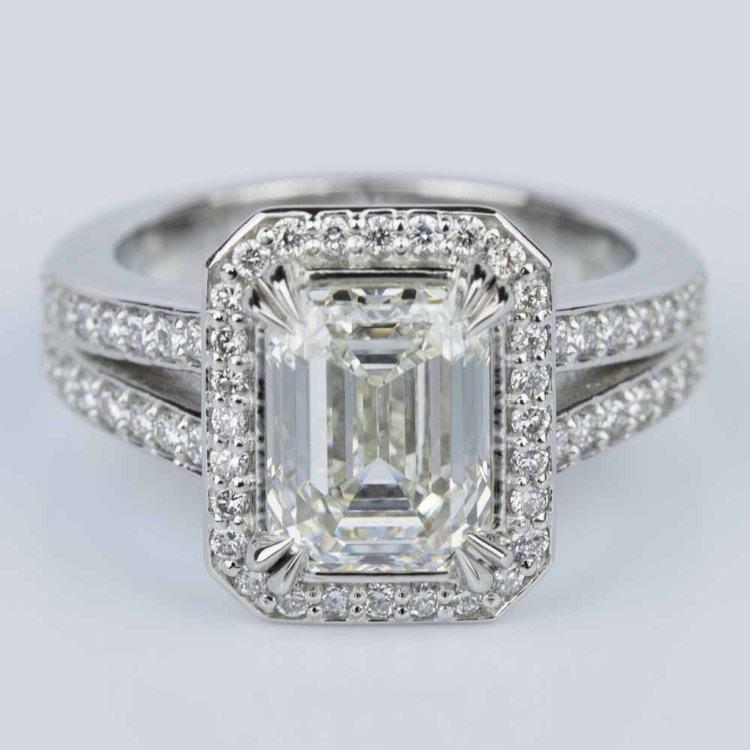 Custom Split Shank Emerald Halo Diamond Engagement Ring