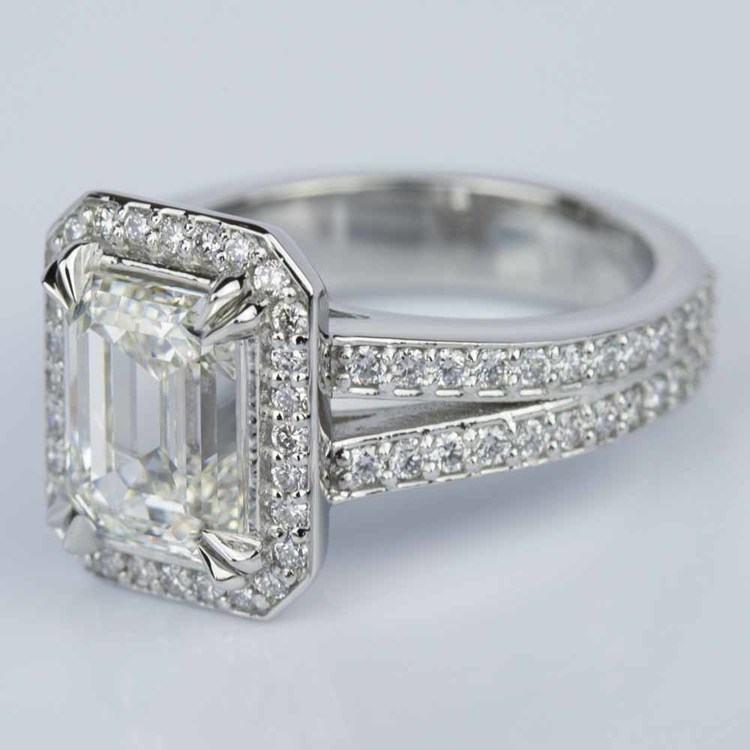Custom Split Shank Emerald Halo Diamond Engagement Ring angle 2