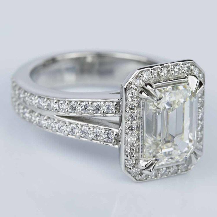 Custom Split Shank Emerald Halo Diamond Engagement Ring angle 3