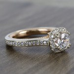 Custom Sunrise Halo 1 Carat Round Diamond Engagement Ring - small angle 3