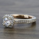 Custom Sunrise Halo 1 Carat Round Diamond Engagement Ring - small angle 2