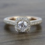 Custom Sunrise Halo 1 Carat Round Diamond Engagement Ring - small
