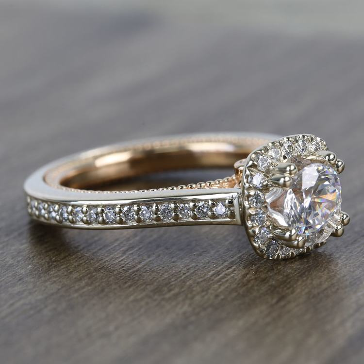 Custom Sunrise Halo 1 Carat Round Diamond Engagement Ring angle 3