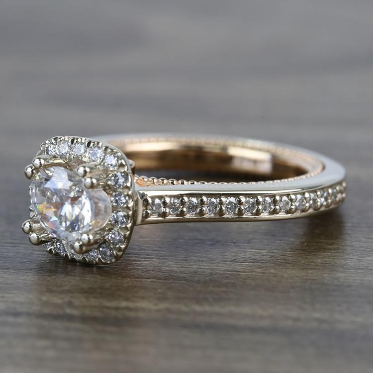 Custom Sunrise Halo 1 Carat Round Diamond Engagement Ring angle 2