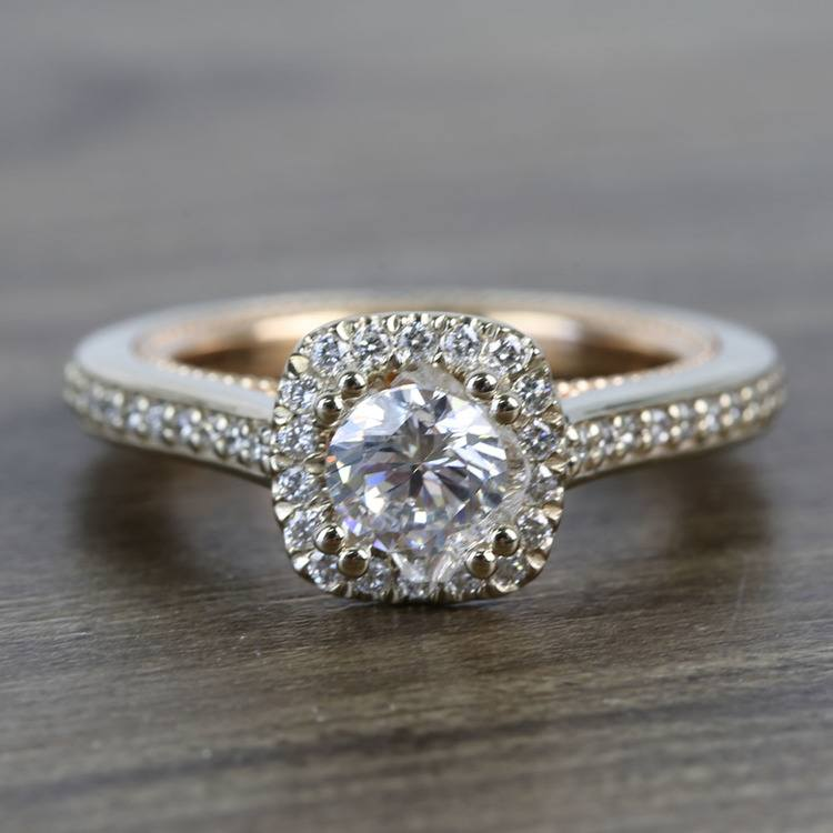 Custom Sunrise Halo 1 Carat Round Diamond Engagement Ring