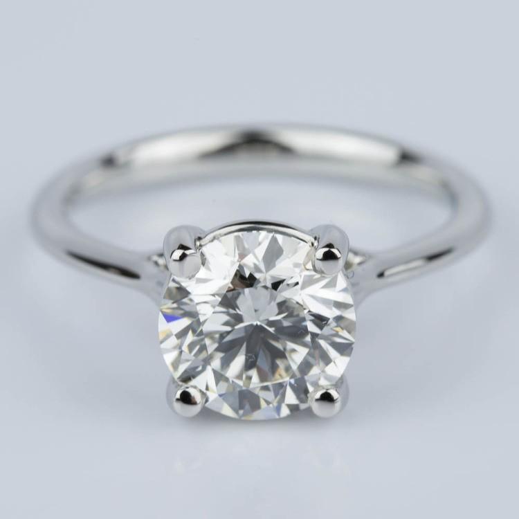 Custom Surprise Diamond Solitaire Engagement Ring in Platinum (2.20 ct.)