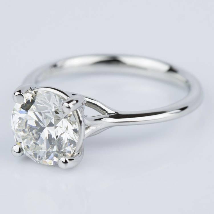 Custom Surprise Diamond Solitaire Engagement Ring in Platinum (2.20 ct.) angle 2