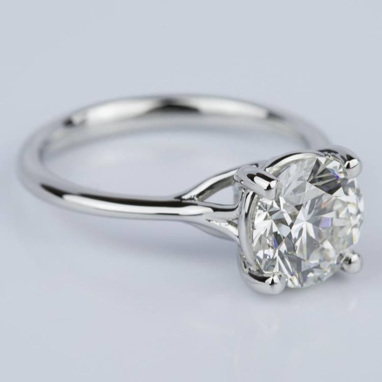 Custom Surprise Diamond Solitaire Engagement Ring in Platinum (2.20 ct.) angle 3