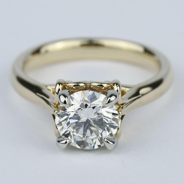 Custom Two-Tone Swirl Diamond Engagement Ring (1.25 ct.)