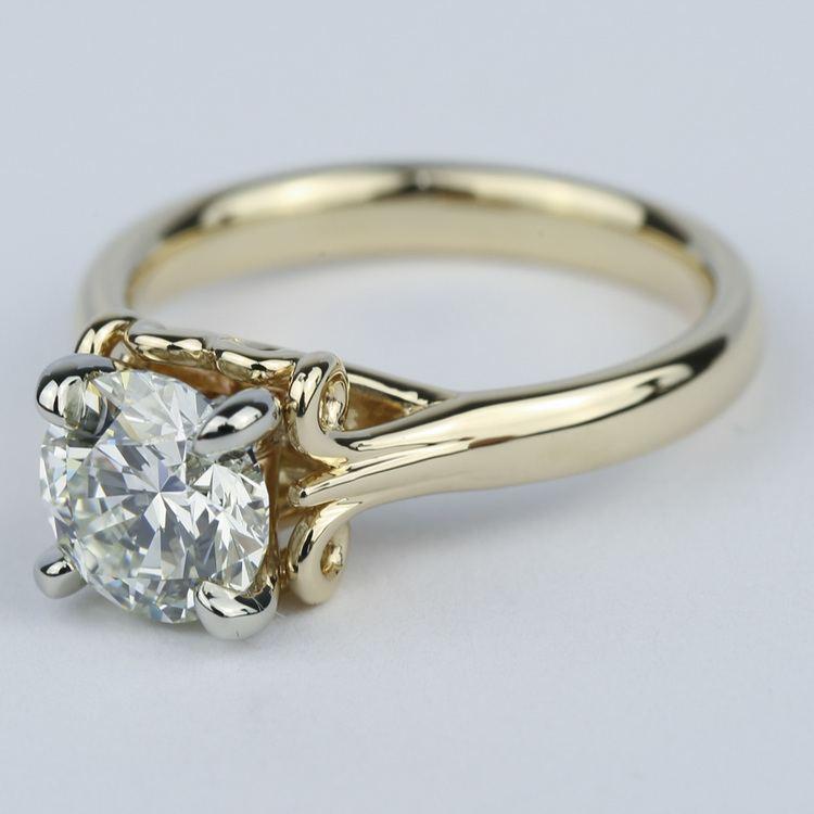 Custom Two-Tone Swirl Diamond Engagement Ring (1.25 ct.) angle 2