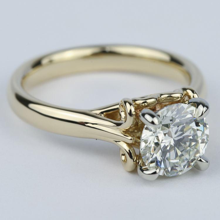 Custom Two-Tone Swirl Diamond Engagement Ring (1.25 ct.) angle 3