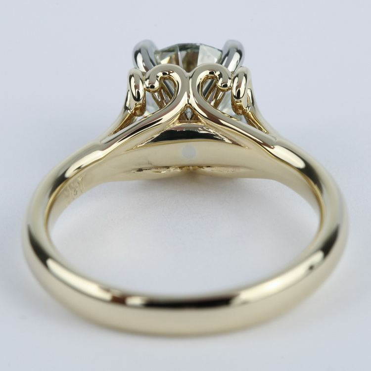 Custom Two Tone Swirl Diamond Engagement Ring 1 25 Ct