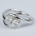 Custom Split Shank Twin Diamond Engagement Ring - small