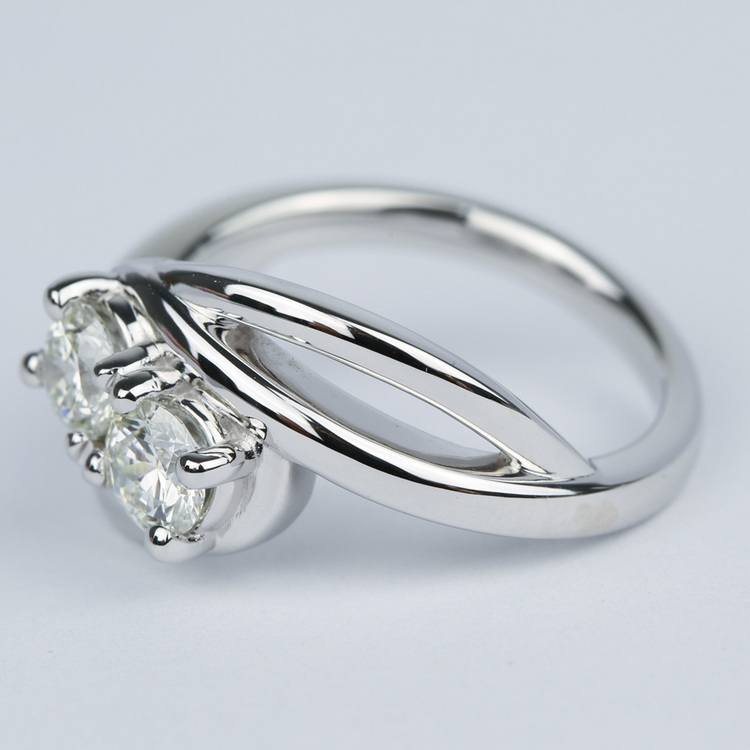Custom Split Shank Twin Diamond Engagement Ring angle 2