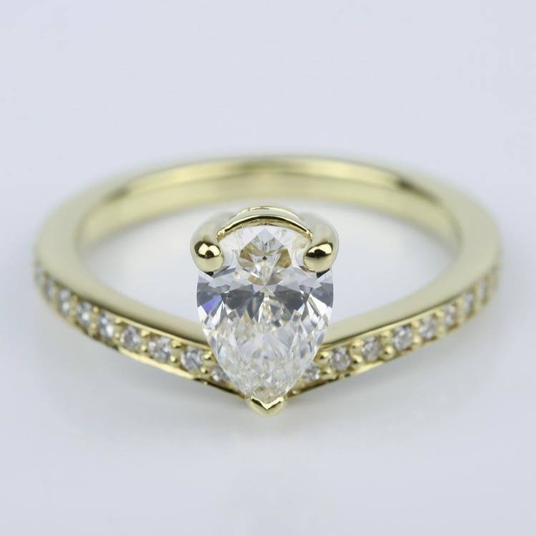 Custom Tear Drop Pear Diamond Engagement Ring 1 Ct