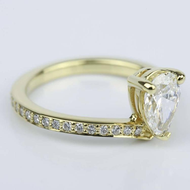 Custom Tear Drop Pear Diamond Engagement Ring (1 ct.) angle 2