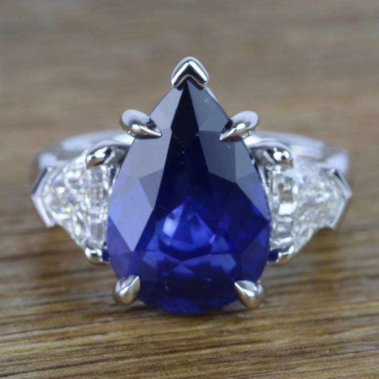 Custom Three Stone Diamond & Sapphire Ring (6 Carat)