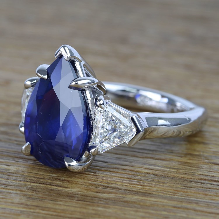 Custom Three Stone Diamond & Sapphire Ring (6 Carat) angle 2