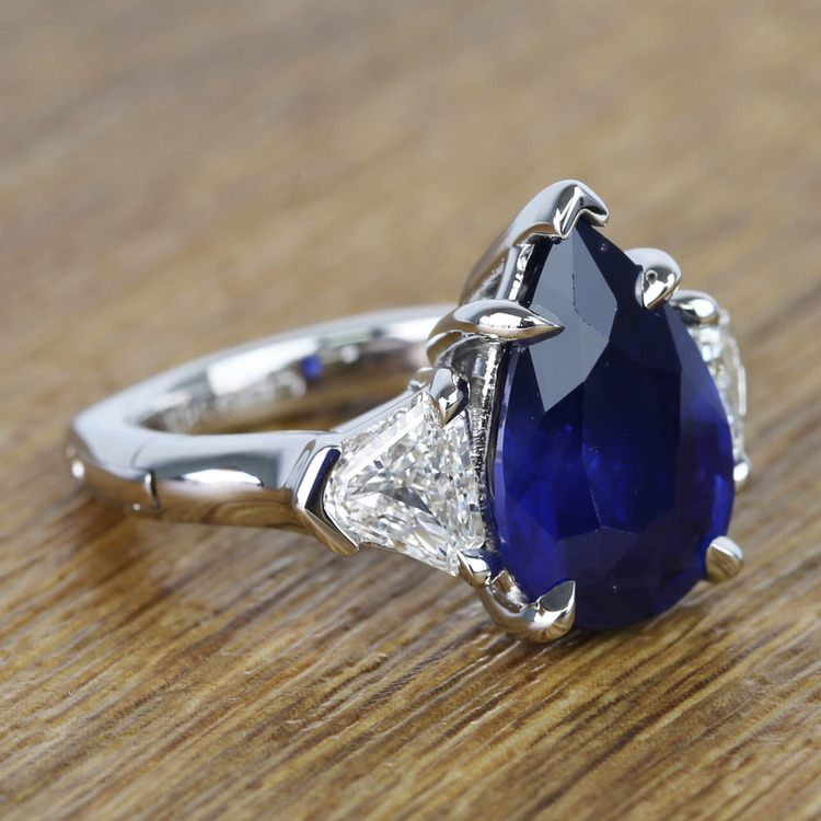 Custom Three Stone Diamond & Sapphire Ring (6 Carat) angle 3