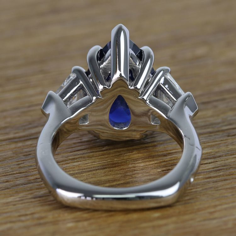 Custom Three Stone Diamond & Sapphire Ring (6 Carat) angle 4