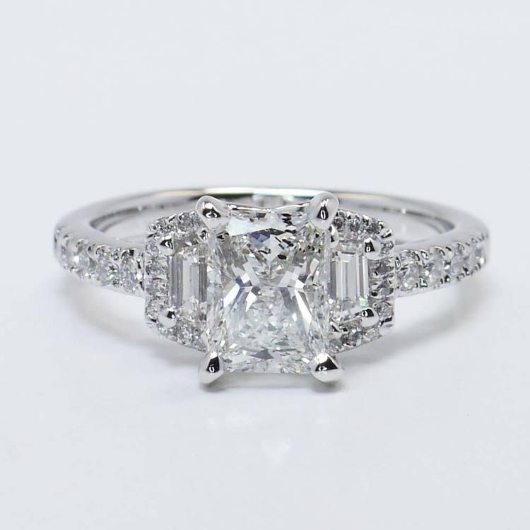 Custom 1.21 Carat Radiant Halo Diamond Engagement Ring