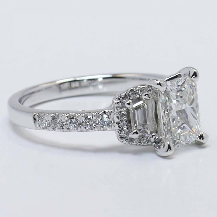Custom 1.21 Carat Radiant Halo Diamond Engagement Ring angle 3