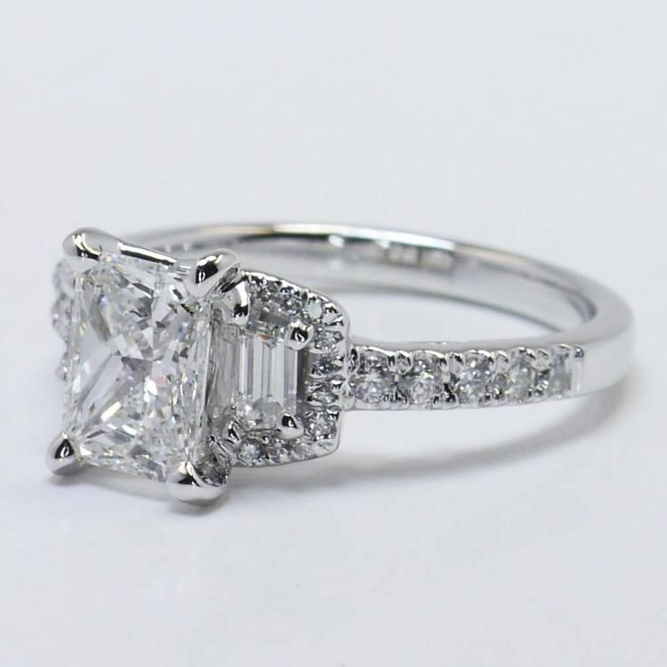 Custom 1.21 Carat Radiant Halo Diamond Engagement Ring angle 4