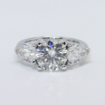 2.33 Carat Round & Pear Diamond Engagement Ring - small