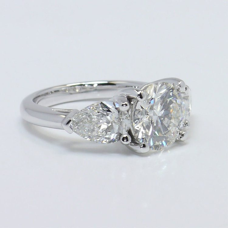 2.33 Carat Round & Pear Diamond Engagement Ring angle 3