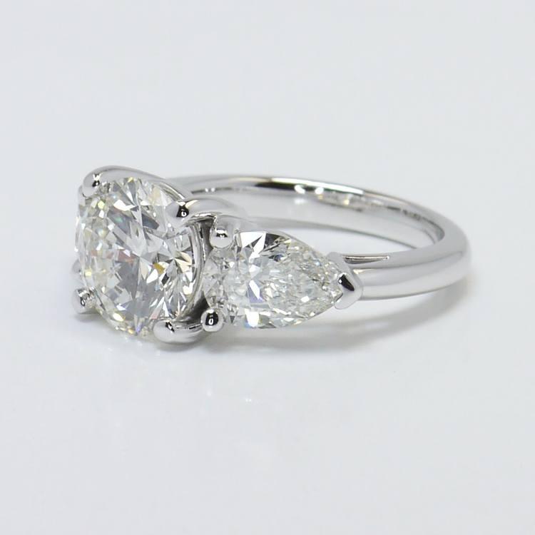 2.33 Carat Round & Pear Diamond Engagement Ring angle 2