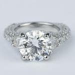 Trapezoid Diamond Engagement Ring with Milgrain Detail (4.50 ct.) - small